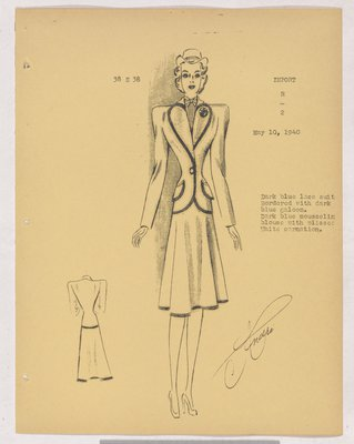Patou Suit with Dark Trim on Jacket and Skirt and Bow at Neck