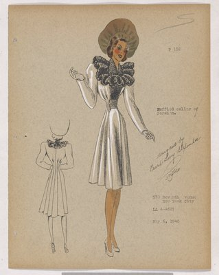 Coat with Ruffled Fur Collar and Fur on Front of Bodice