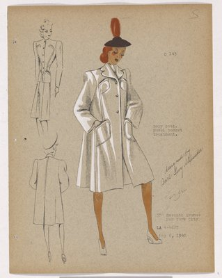 Boxy Coat with Four Patch Pockets and Brown Hat
