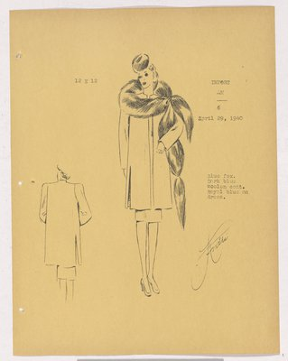 Robert Piquet Coat with Fur Piece Around Shoulder, with Animal Face