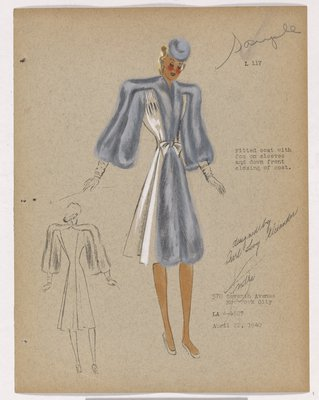 Coat with Grey Fur Sleeves and Fur down Front Closing