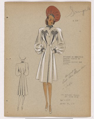 Coat with Fur Pockets and Inserts on Pleats at Bodice, with Pink Hat