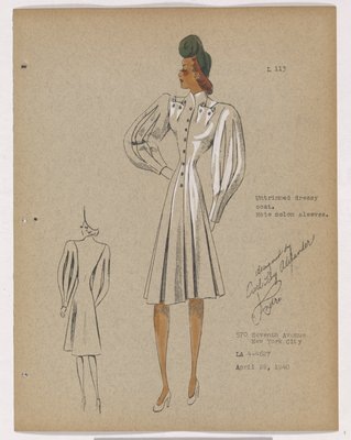 Coat with Melon Sleeve and High Pockets, with Green Hat