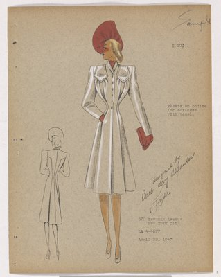 Coat with Pleats on Bodice and Pink Accessories