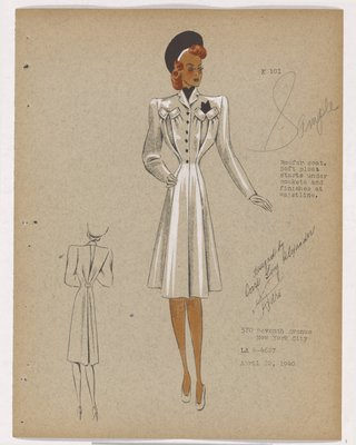 Coat with Pleat under High Pockets on Bodice, with Black Hat