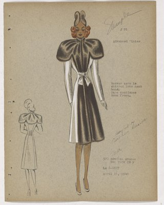 Coat with Brown Fur on Capelet and down Front, with Bow at Waist
