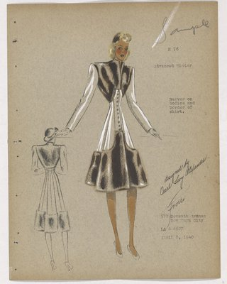 Coat with Brown Fur on Bodice and Border of Skirt