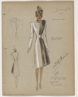 Coat with Brown Fur along Side Closing/Small Pencil Sketch of Striped Coat or Dress