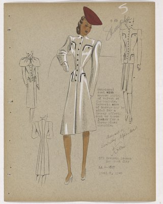 Untrimmed Suit with Black Piping on Pockets, with Red Hat