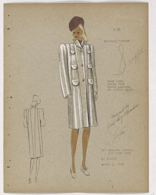 Coat with Six Flap Pockets and Brown Hat