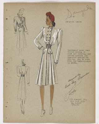 Coat with Square Buttons and Dark Piping, with Red Hat
