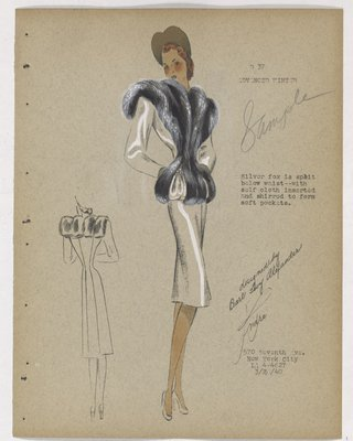 Coat with Dark Fur down Front of Bodice and Split over Pockets at Waist