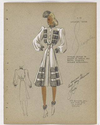 Coat with Six Fur Strips on Bodice and Skirt