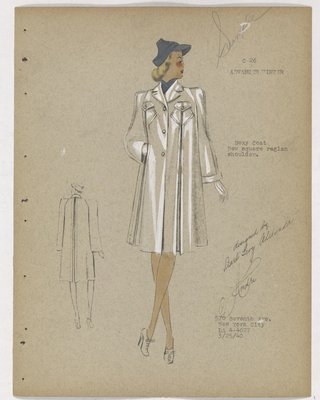 Boxy Coat with High Flap Pockets and Blue Hat and Scarf