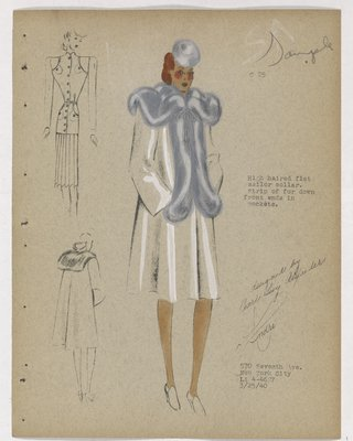 Coat with Grey Fur on Collar and down Front, Ending in Pockets