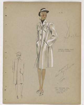 Untrimmed Coat with Four Pockets and Brown Hat and Scarf