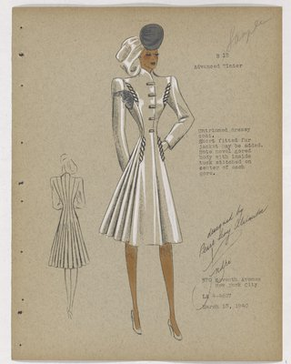 Coat with Twisted Trim on Pockets and Fullness at Back, with Blue Hat