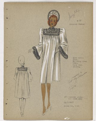 Coat with Fur Strips on Yok and Cuffs, with Shirring on Top