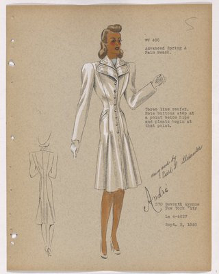 Coat with Double Lapels and Pleats on Lower Skirt