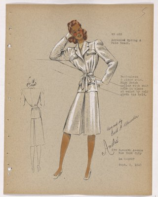 Suit with Flap Pockets and Bow at Waist