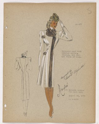 Coat with Brown Fur on Collar, Closing and Pockets, with Olive Hat