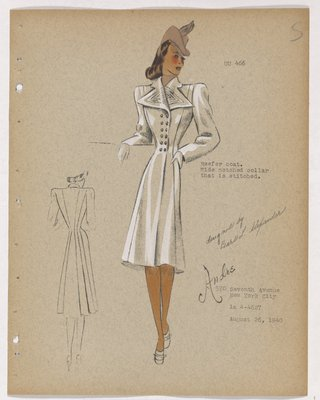 Coat with Wide Pointed Lapels and Tiny Double-Breasted Buttons