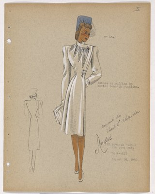 Coat with Points Beneath Neckline and Flower at Waist, with Blue Hat