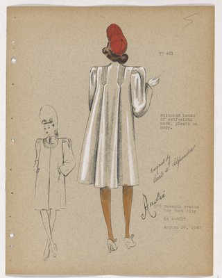 Coat with Stitched Bands of Cloth over Shoulder, with Red Hat