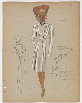 Coat with Rectangle Buttons along Side, with Pink Hat