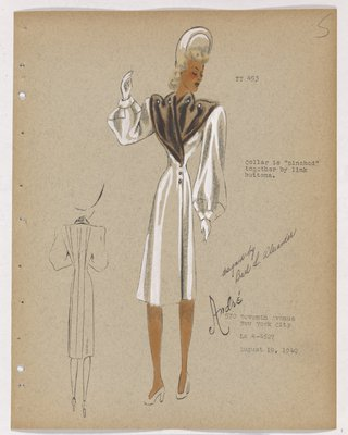 Coat with Brown Fur on Bodice with Buttons Across Shoulders