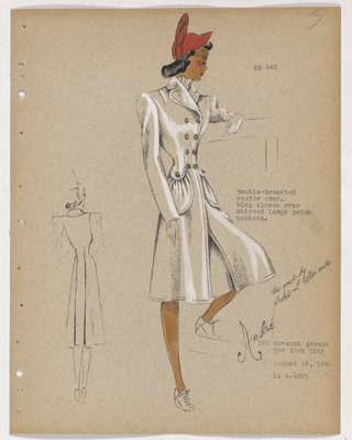 Coat with Large Shirred Patch Pockets, with Red Hat