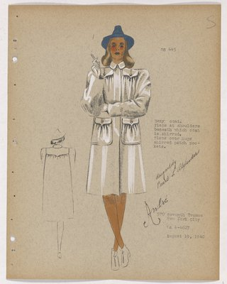 Coat with Two Flap Pockets and Two Patch Pockets, with Blue Hat