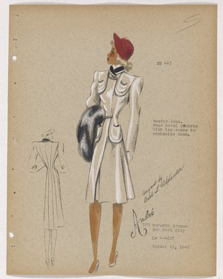 Coat with Chain at Neck and Waist, with Red Hat and Black Fur Piece