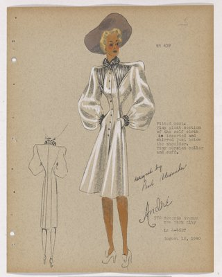 Coat with Shirred Inserts Below Shoulder, with Purple Hat