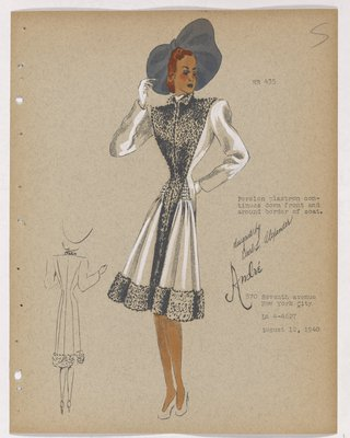 Coat with Fur down Front and Border, with Grey Hat