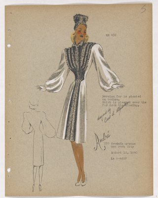 Coat with Fur Pleats on Bodice and Fur down Closing
