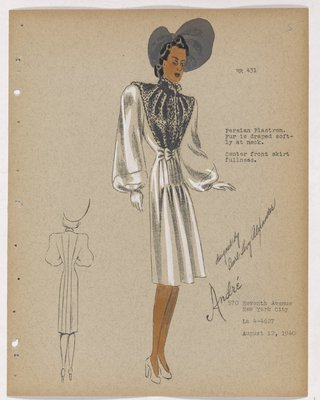 Coat with Fur on Bodice, with Draping at Neck, with Grey Hat