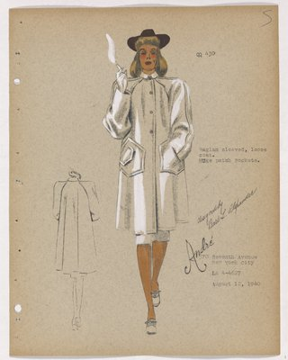 Coat with Raglan Sleeves and Huge Patch Pockets, with Brown Hat