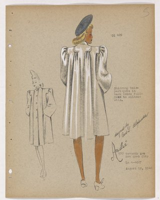 Coat with Shirring Below Part-Yoke, with Blue-Grey Hat
