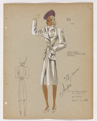 Coat with Double Chain Closing at Waist, with Purple Hat