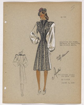 Coat with Fur Front and Box Pleats on Skirt, with Purple Hat