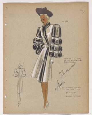 Coat with Black Fur Bands on Bell Sleeves, with Purple Hat