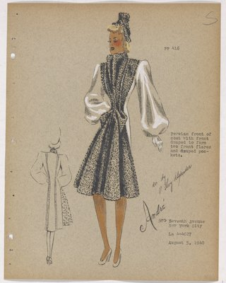 Coat with Fur Front with Draping on Skirt and Pockets