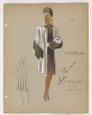 Coat with Brown Fur down Closing and along Lower Sleeve