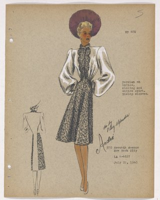 Coat with Fur on Bodice, Closing and Skirt, with Purple Hat
