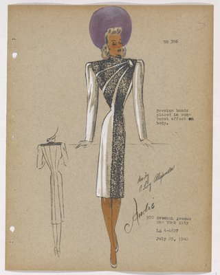 Coat with Diagonal Fur Bands Across Bodice, with Single Button and Purple Hat