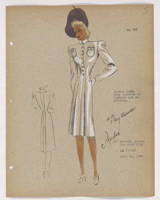 Coat with Tiny Buttons on Top and over High Pockets, with Purple Hat