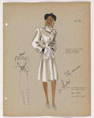 Coat with Large Pockets and Black Hat and Gloves