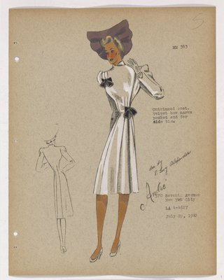 Coat with Black Bows at Top and Waist, with Purple Hat