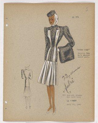 Torso Coat with Fur Top and Full Skirt